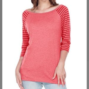 Red Stripe-Sleeve Boatneck Top, S